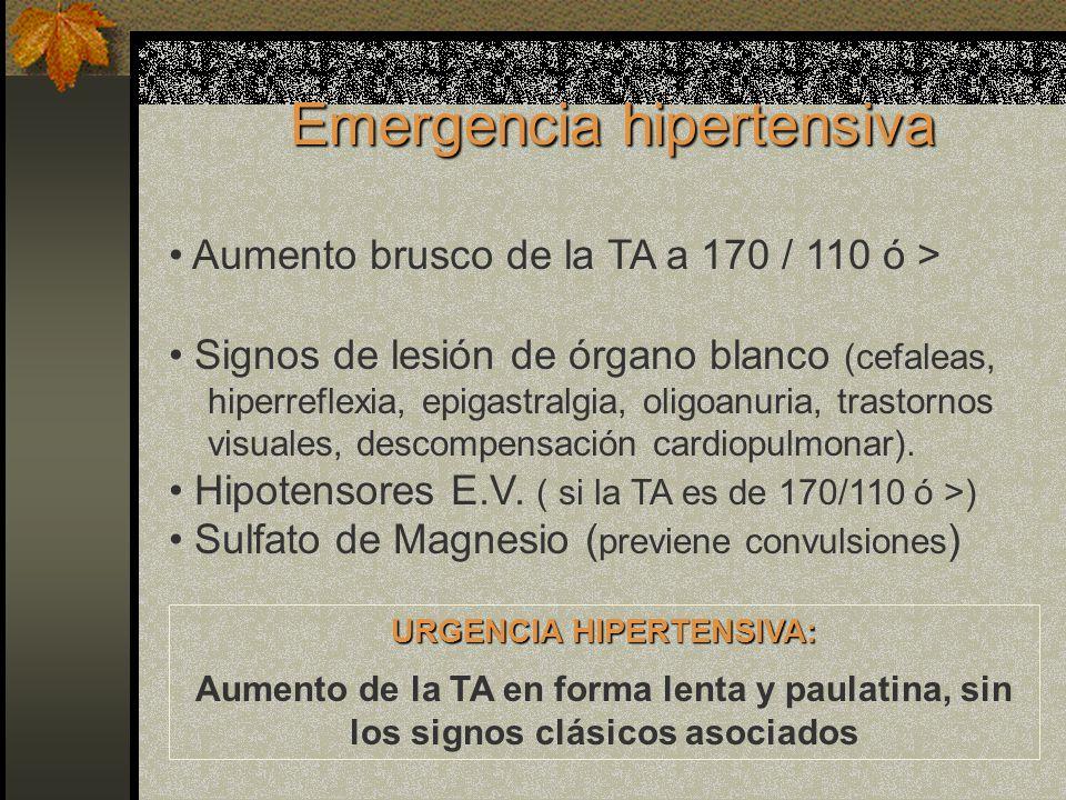 Emergencia hipertensiva Aumento brusco de la TA a 170 / 110 ó > Signos de lesión de órgano blanco (cefaleas, hiperreflexia, epigastralgia, oligoanuria