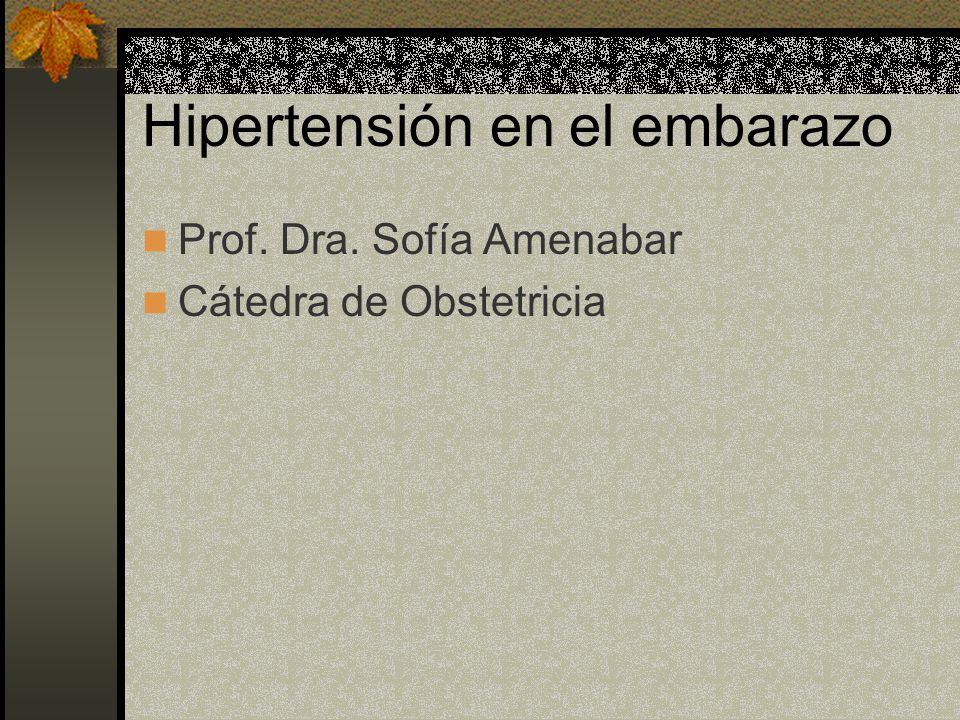 Hipertensión en el embarazo Prof. Dra. Sofía Amenabar Cátedra de Obstetricia