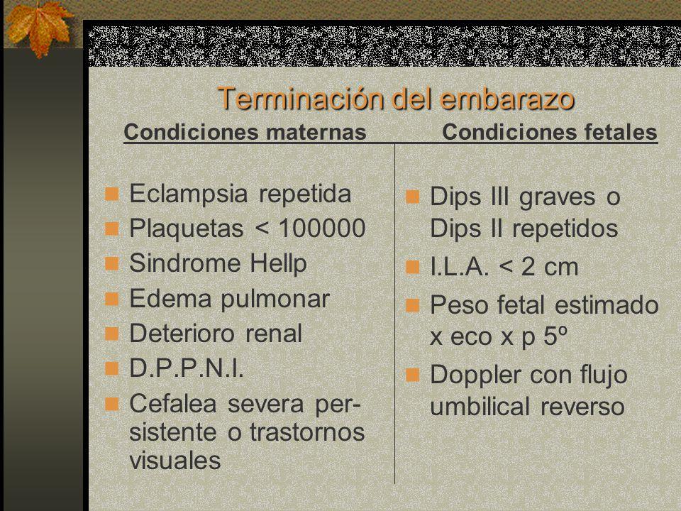 Terminación del embarazo Terminación del embarazo Condiciones maternas Condiciones fetales Eclampsia repetida Plaquetas < 100000 Sindrome Hellp Edema