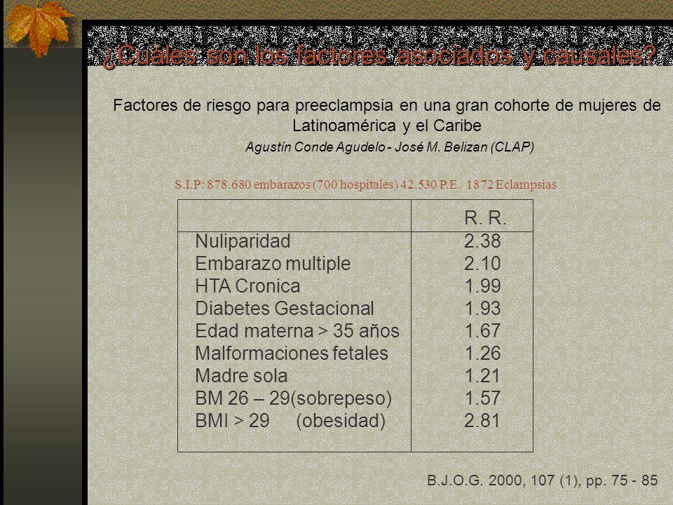 Factores de riesgo para preeclampsia en una gran cohorte de mujeres de Latinoamérica y el Caribe Agustín Conde Agudelo - José M. Belizan (CLAP) S.I.P: