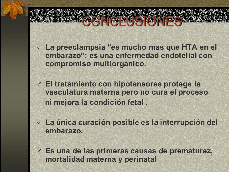 CONCLUSIONES La preeclampsia es mucho mas que HTA en el embarazo; es una enfermedad endotelial con compromiso multiorgánico. El tratamiento con hipote