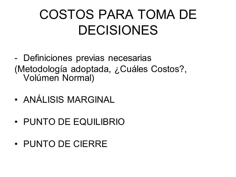COSTOS PARA TOMA DE DECISIONES -Definiciones previas necesarias (Metodología adoptada, ¿Cuáles Costos?, Volúmen Normal) ANÁLISIS MARGINAL PUNTO DE EQU