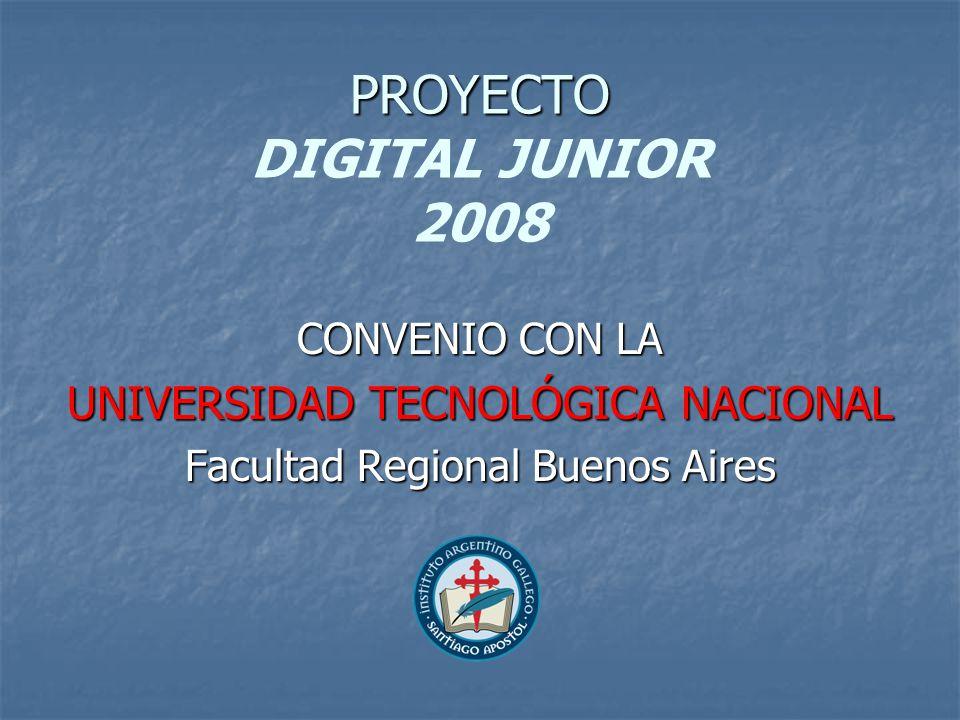 PROYECTO PROYECTO DIGITAL JUNIOR 2008 CONVENIO CON LA UNIVERSIDAD TECNOLÓGICA NACIONAL Facultad Regional Buenos Aires
