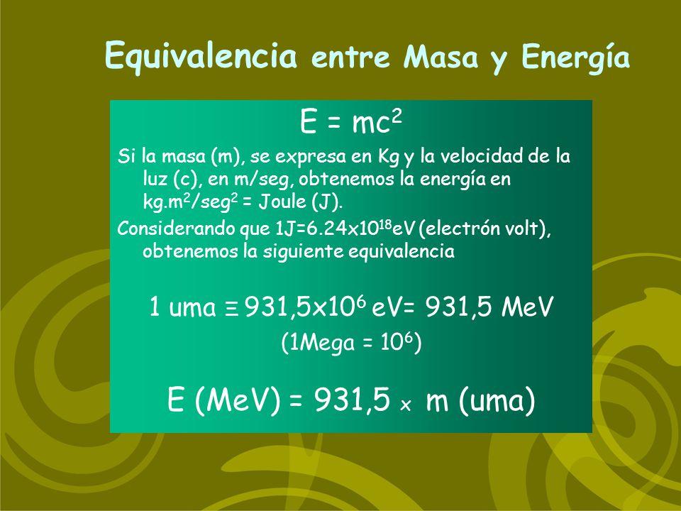Equivalencia entre Masa y Energía E = mc 2 Si la masa (m), se expresa en Kg y la velocidad de la luz (c), en m/seg, obtenemos la energía en kg.m 2 /se