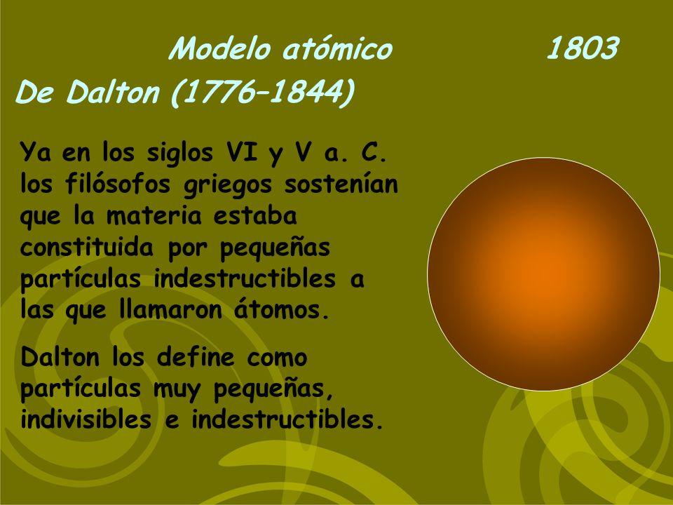 Modelo atómico De Thompson (1856–1940) 1897 Demostró la existencia de los electrones, cargados negativamente.