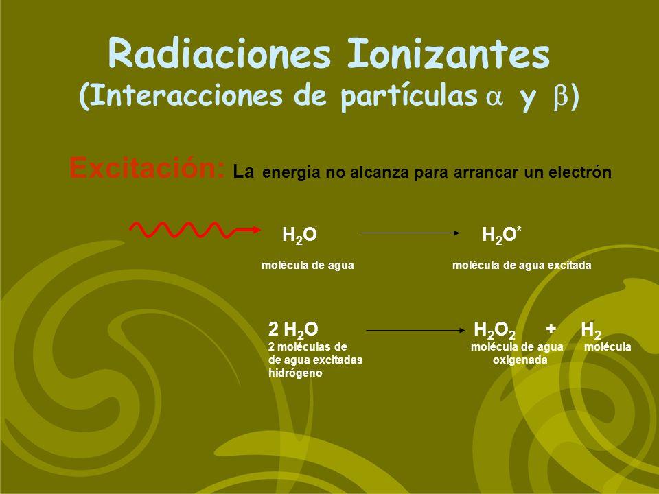 H 2 O H 2 O * molécula de agua molécula de agua excitada Radiaciones Ionizantes (Interacciones de partículas y ) Excitación: La energía no alcanza par