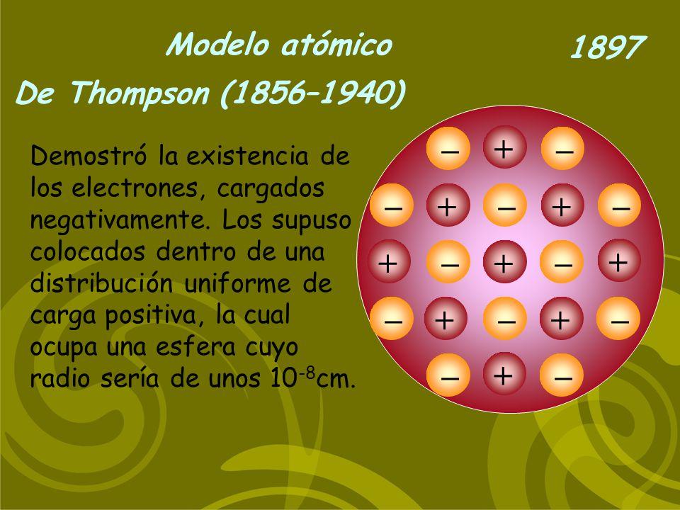 Modelo atómico De Thompson (1856–1940) 1897 Demostró la existencia de los electrones, cargados negativamente. Los supuso colocados dentro de una distr