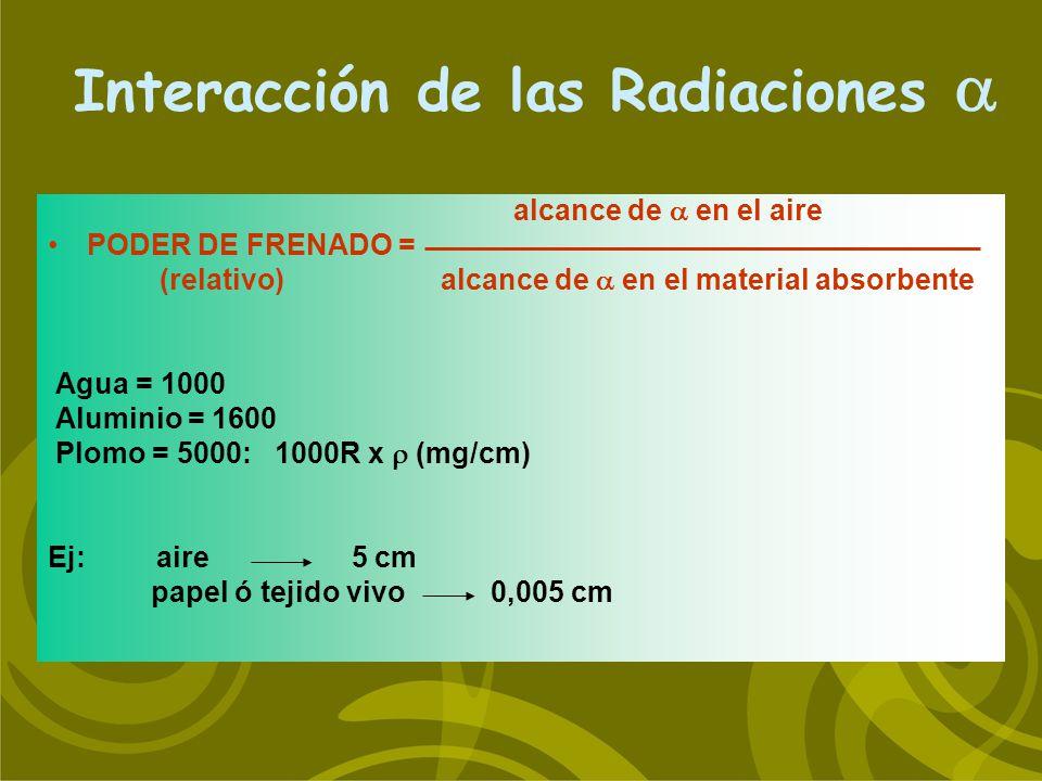 alcance de en el aire PODER DE FRENADO = (relativo) alcance de en el material absorbente Agua = 1000 Aluminio = 1600 Plomo = 5000: 1000R x (mg/cm) Ej: