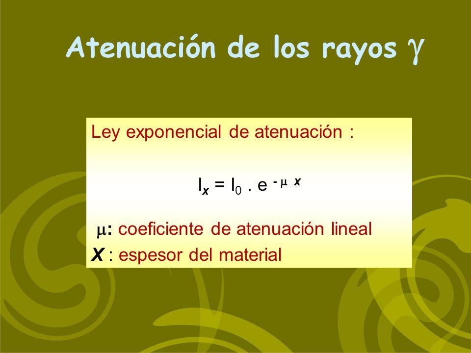 Atenuación de los rayos Ley exponencial de atenuación : I x = I 0. e - x : coeficiente de atenuación lineal X : espesor del material