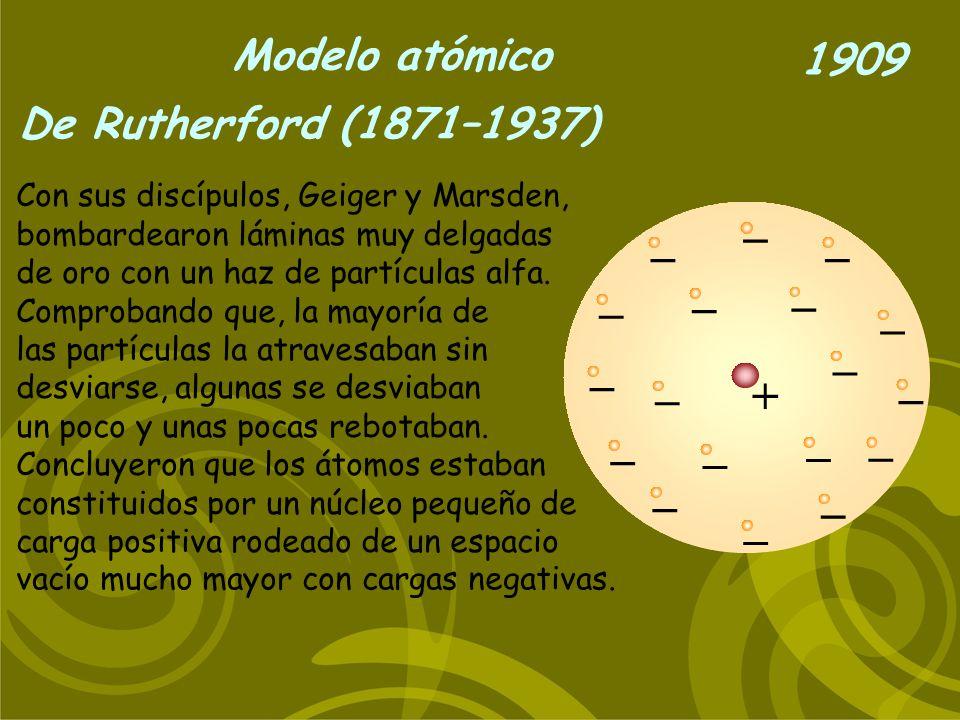 Modelo atómico De Rutherford (1871–1937) 1909 + _ _ _ _ _ _ _ _ _ _ _ _ _ _ _ _ _ Con sus discípulos, Geiger y Marsden, bombardearon láminas muy delga