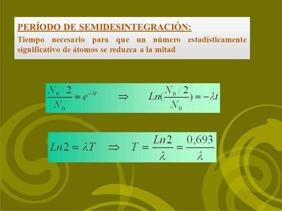 PERÍODO DE SEMIDESINTEGRACIÓN: Tiempo necesario para que un número estadísticamente significativo de átomos se reduzca a la mitad