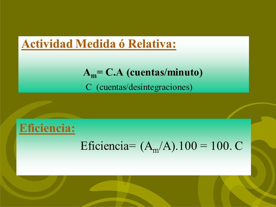 Actividad Medida ó Relativa: A m = C.A (cuentas/minuto) C (cuentas/desintegraciones) Eficiencia: Eficiencia= (A m /A).100 = 100. C