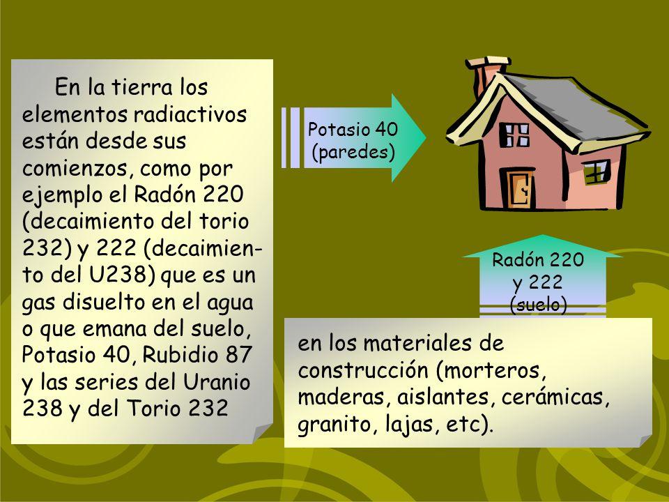 En la tierra los elementos radiactivos están desde sus comienzos, como por ejemplo el Radón 220 (decaimiento del torio 232) y 222 (decaimien- to del U