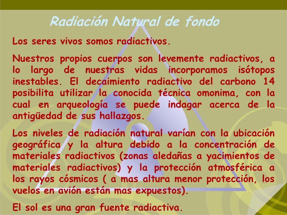 Radiación Natural de fondo Los seres vivos somos radiactivos. Nuestros propios cuerpos son levemente radiactivos, a lo largo de nuestras vidas incorpo
