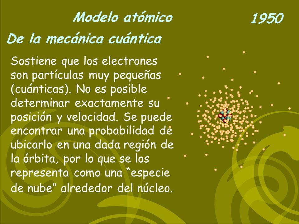 Modelo atómico De la mecánica cuántica 1950 Sostiene que los electrones son partículas muy pequeñas (cuánticas). No es posible determinar exactamente