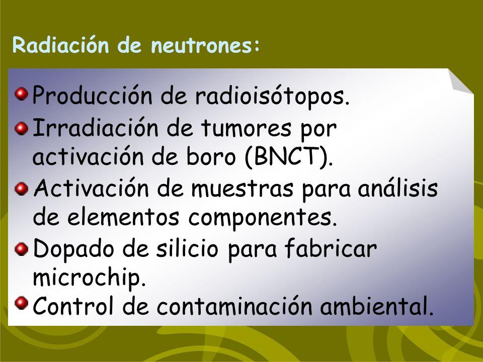 Radiación de neutrones: Producción de radioisótopos. Activación de muestras para análisis de elementos componentes. Dopado de silicio para fabricar mi