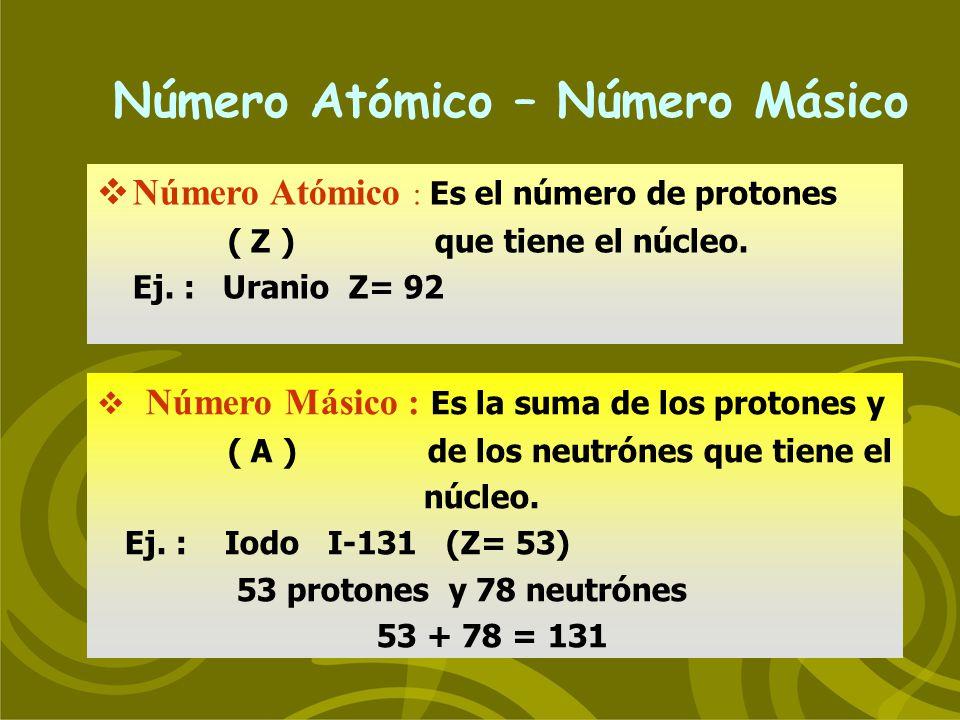 Número Atómico – Número Másico Número Atómico : Es el número de protones ( Z ) que tiene el núcleo. Ej. : Uranio Z= 92 Número Másico : Es la suma de l