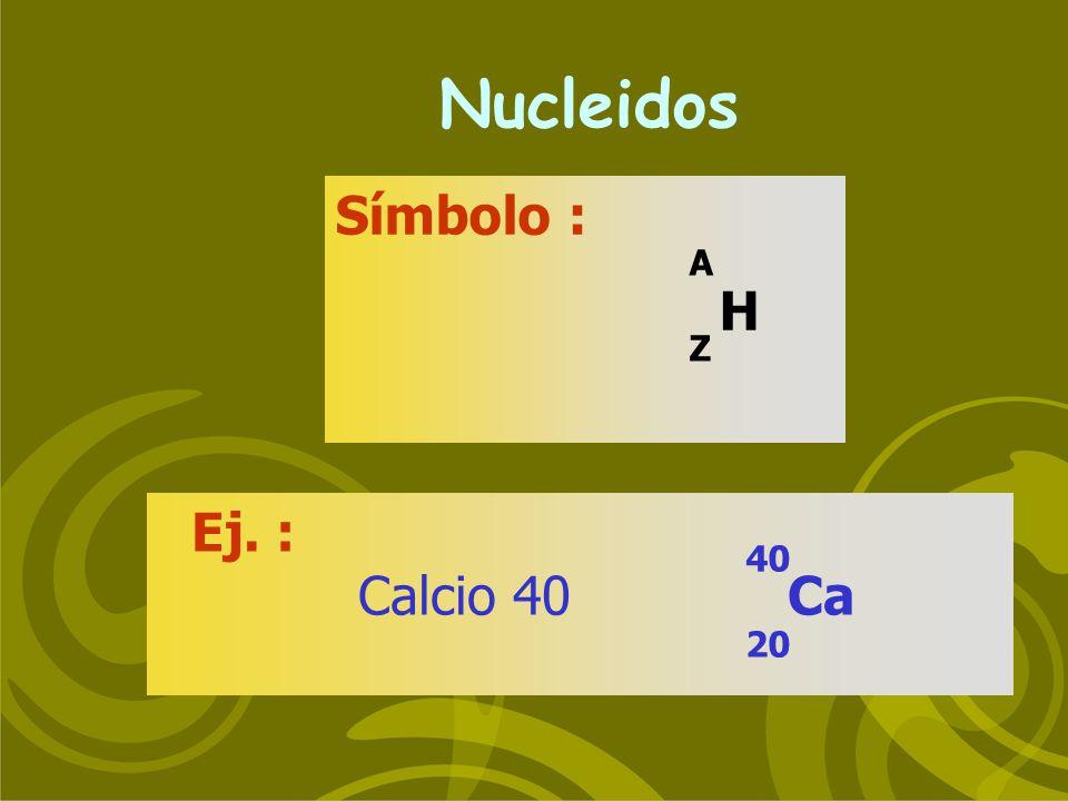 RADIACION Alcance aproxSe originan en AireAgua Alfa2-8 cm 20-40 Núcleos pesados Beta negativa 0-10 m0-1 mm Núcleos con alta relación n/p Beta positiva 0-10 m0-1 mm Núcleos con baja relación n/p Neutrón0-100 m0-1 m Reacciones nucleares Rayos Xmm- 10 cm - cm Transiciones entre electrones orbitales Rayos Gamma cm-100 mmm-10 cm Transiciones nucleares Partículas Ondas electrom.