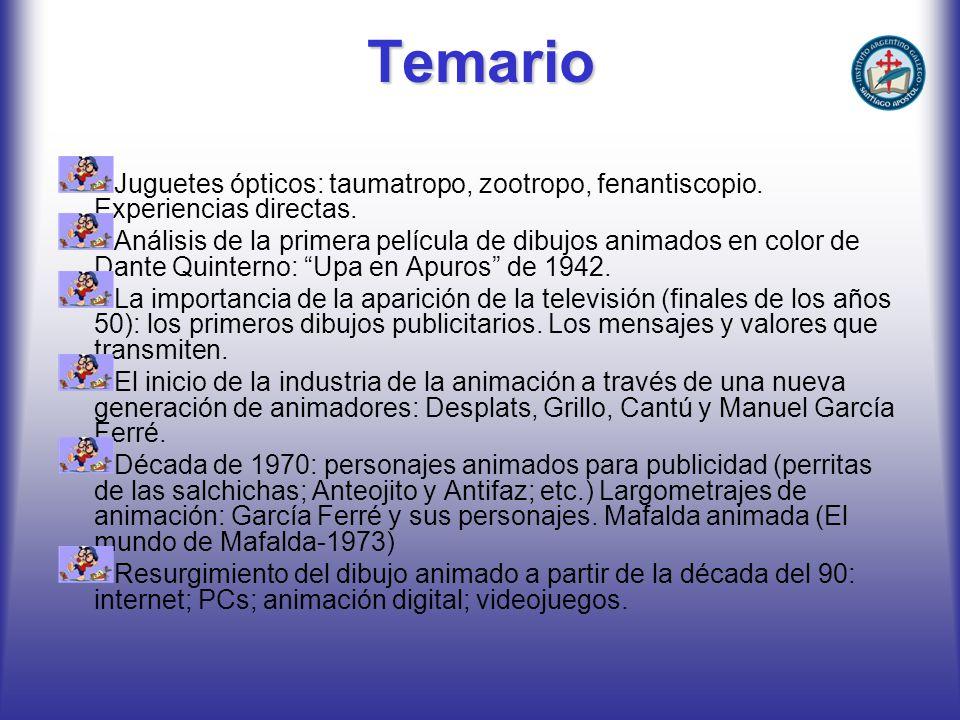Temario Juguetes ópticos: taumatropo, zootropo, fenantiscopio. Experiencias directas. Análisis de la primera película de dibujos animados en color de