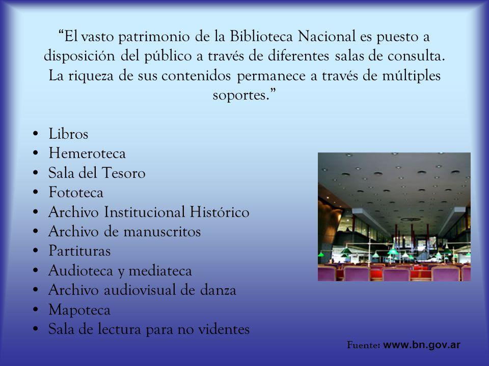 El vasto patrimonio de la Biblioteca Nacional es puesto a disposición del público a través de diferentes salas de consulta. La riqueza de sus contenid