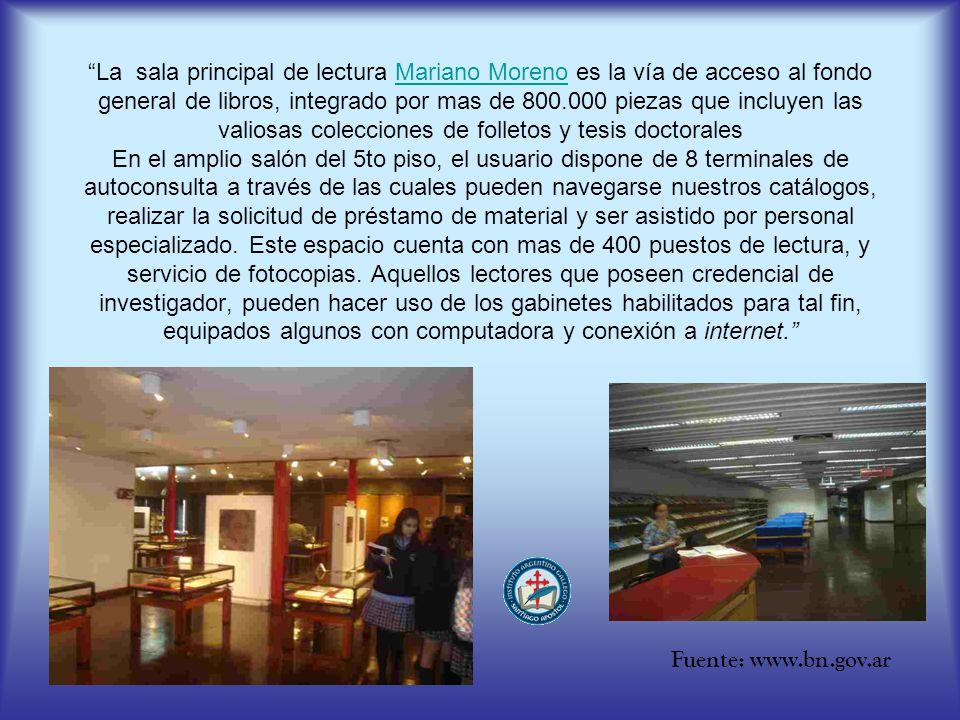 La sala principal de lectura Mariano Moreno es la vía de acceso al fondo general de libros, integrado por mas de 800.000 piezas que incluyen las valio