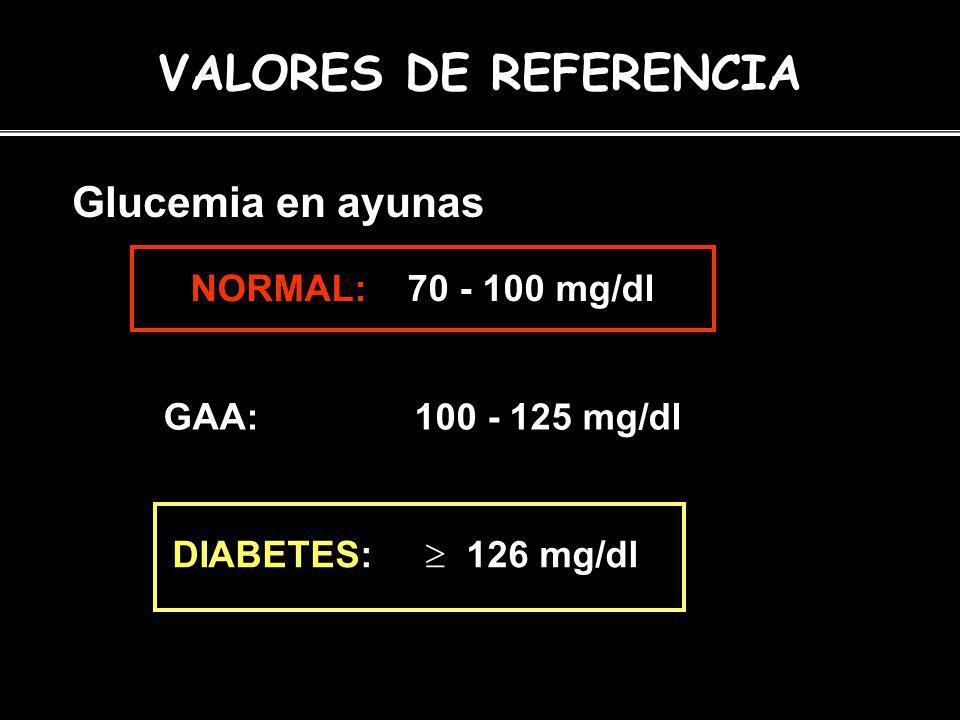 VALORES DE REFERENCIA Glucemia en ayunas NORMAL: 70 - 100 mg/dl GAA: 100 - 125 mg/dl DIABETES: 126 mg/dl