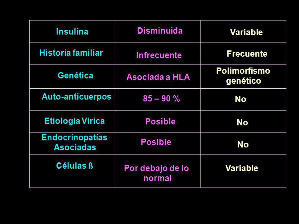 Insulina Disminuida Variable Historia familiar Infrecuente Frecuente Genética Asociada a HLA Polimorfismo genético Auto-anticuerpos 85 – 90 % No Etiología Vírica Posible No Endocrinopatías Asociadas Posible No Células ß Por debajo de lo normal Variable