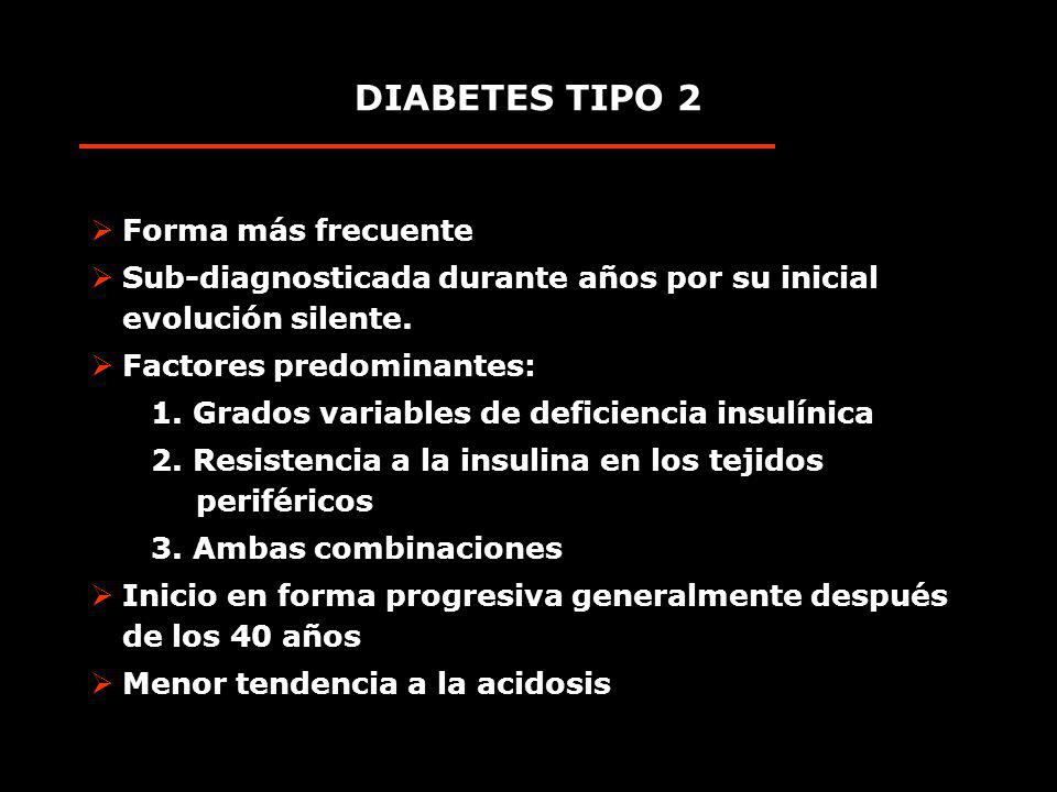 DIABETES TIPO 2 Forma más frecuente Sub-diagnosticada durante años por su inicial evolución silente. Factores predominantes: 1. Grados variables de de