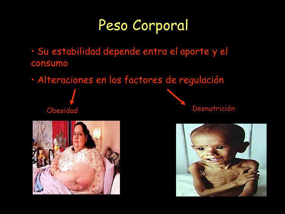 Peso Corporal Su estabilidad depende entra el aporte y el consumo Alteraciones en los factores de regulación Obesidad Desnutrición