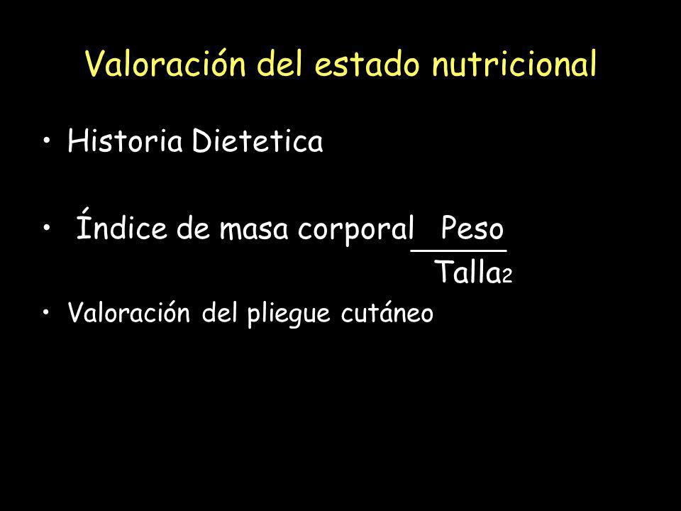 Valoración del estado nutricional Historia Dietetica Índice de masa corporal Peso Talla 2 Valoración del pliegue cutáneo