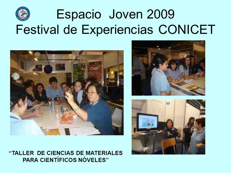 Espacio Joven 2009 Festival de Experiencias CONICET TALLER DE CIENCIAS DE MATERIALES PARA CIENTÍFICOS NÓVELES
