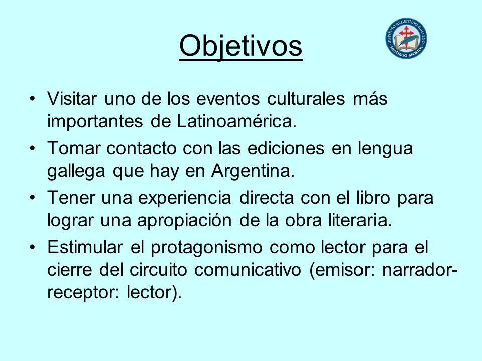 Objetivos Visitar uno de los eventos culturales más importantes de Latinoamérica. Tomar contacto con las ediciones en lengua gallega que hay en Argent