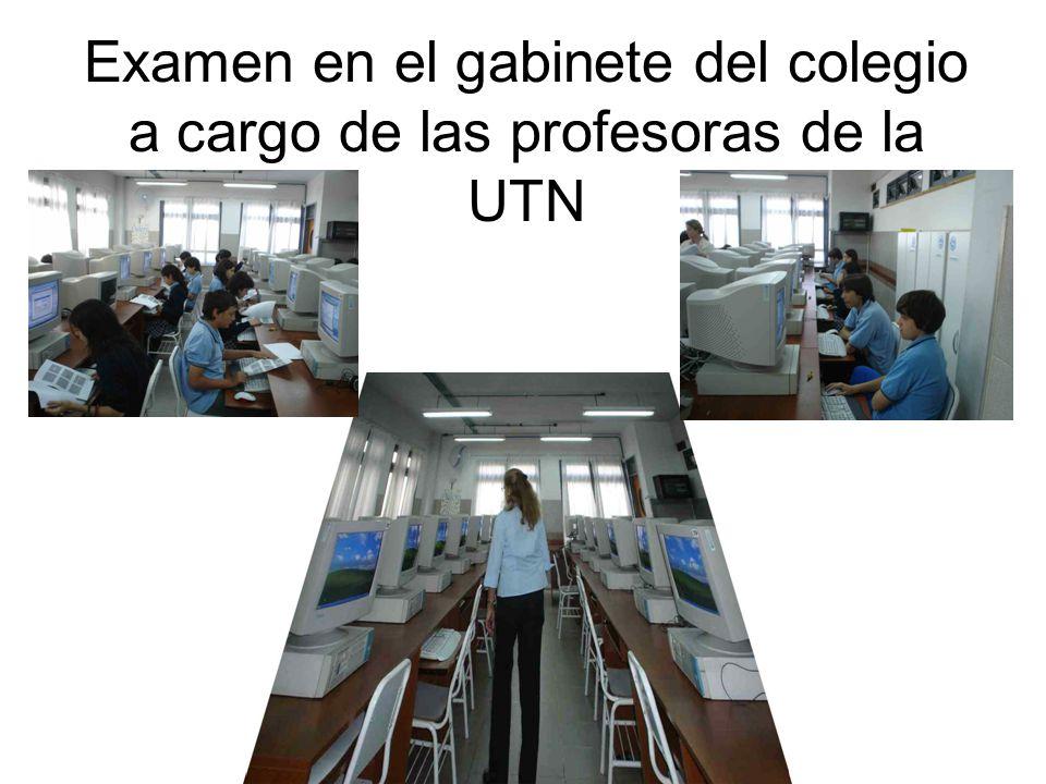 Examen en el gabinete del colegio a cargo de las profesoras de la UTN