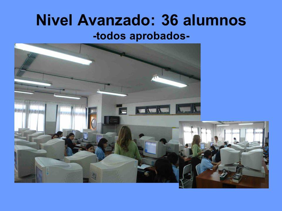 Nivel Avanzado: 36 alumnos -todos aprobados-