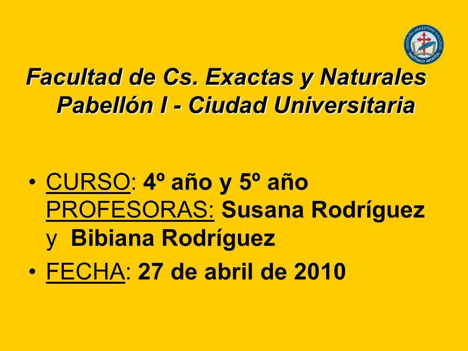 Facultad de Cs. Exactas y Naturales Pabellón I - Ciudad Universitaria CURSO: 4º año y 5º año PROFESORAS: Susana Rodríguez y Bibiana Rodríguez FECHA: 2