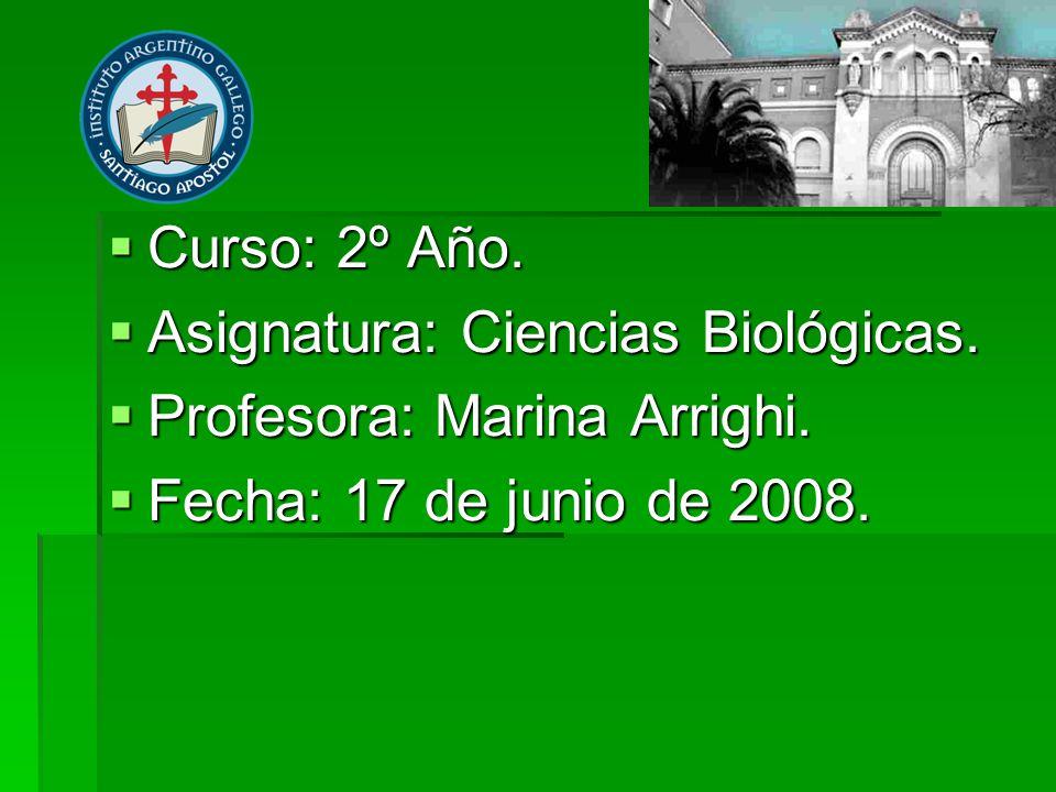 Curso: 2º Año. Asignatura: Ciencias Biológicas. Profesora: Marina Arrighi. Fecha: 17 de junio de 2008.