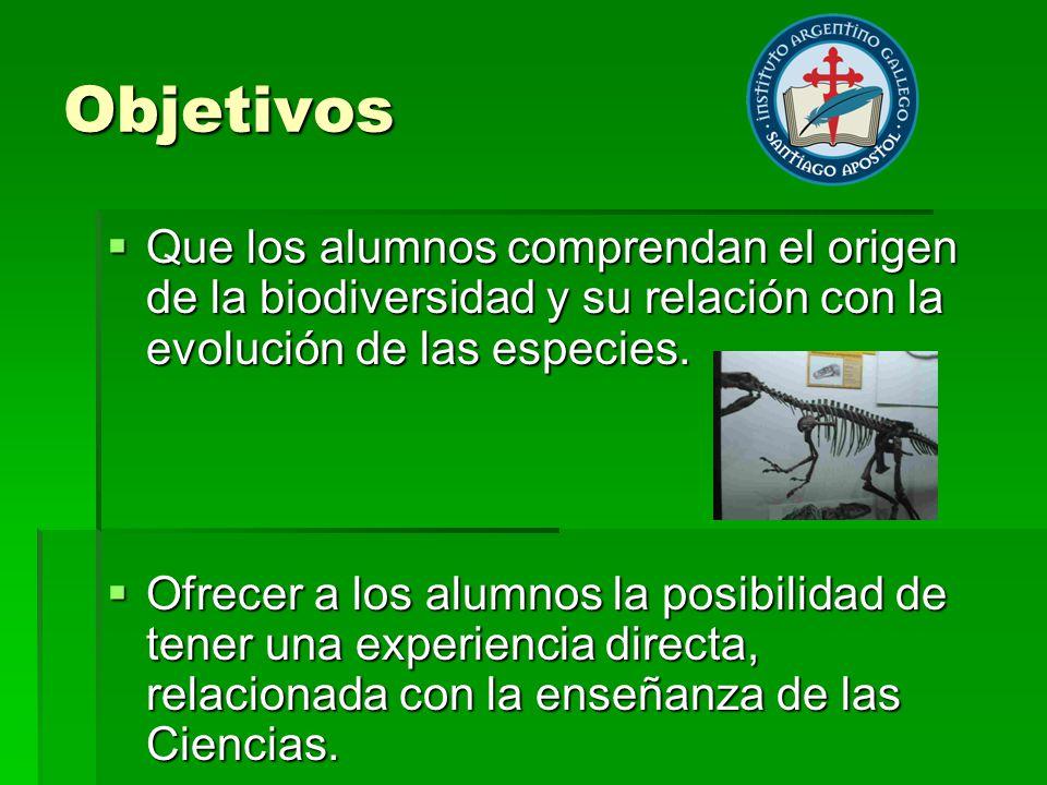 Objetivos Que los alumnos comprendan el origen de la biodiversidad y su relación con la evolución de las especies. Que los alumnos comprendan el orige