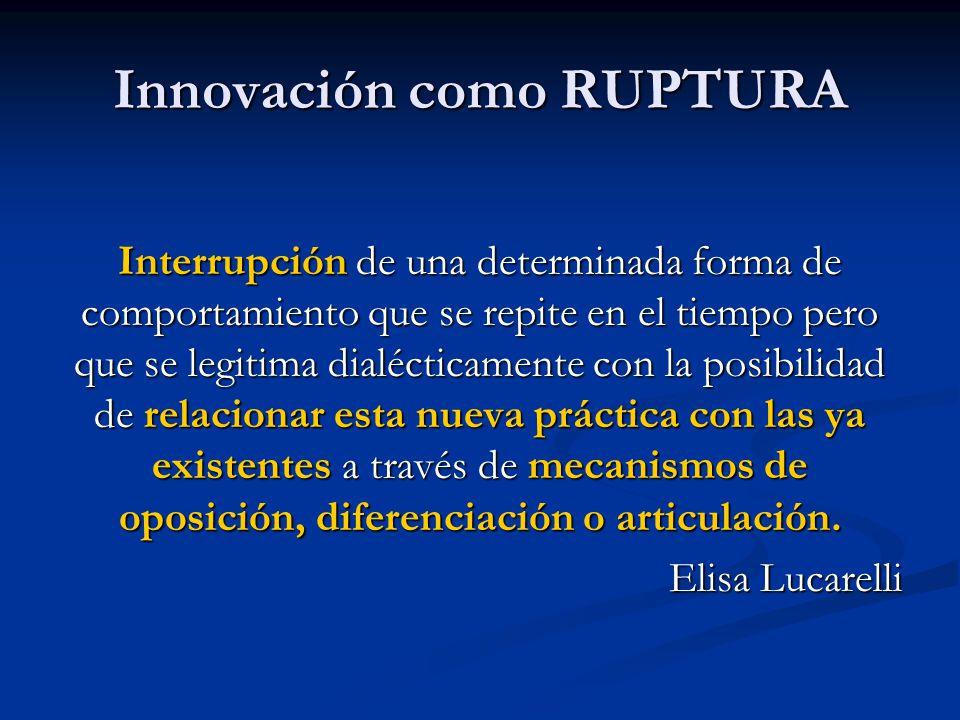 Innovación como RUPTURA Interrupción de una determinada forma de comportamiento que se repite en el tiempo pero que se legitima dialécticamente con la