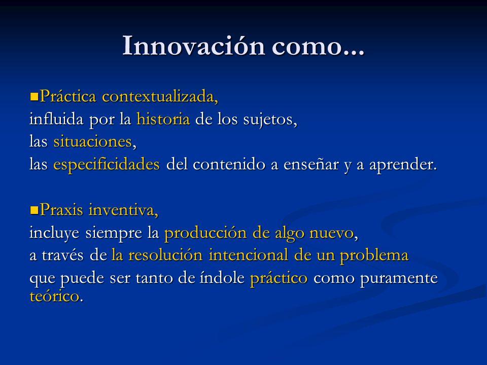 Innovación como... Práctica contextualizada, Práctica contextualizada, influida por la historia de los sujetos, las situaciones, las especificidades d