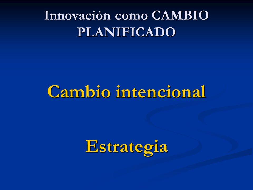 Cambio intencional Estrategia Innovación como CAMBIO PLANIFICADO