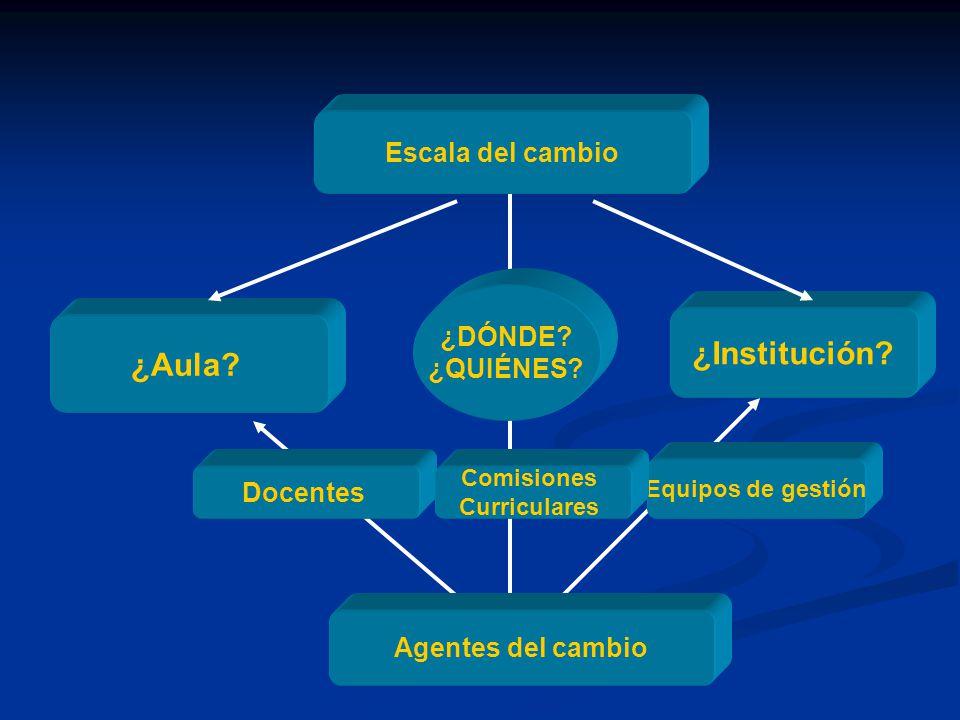 Escala del cambio ¿Aula? ¿Institución? Agentes del cambio Docentes Equipos de gestión Comisiones Curriculares ¿DÓNDE? ¿QUIÉNES?