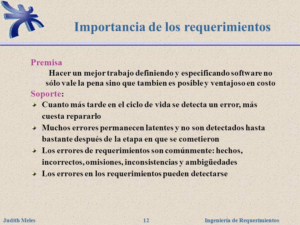 Ingeniería de Requerimientos Judith Meles 12 Importancia de los requerimientos Premisa Hacer un mejor trabajo definiendo y especificando software no s