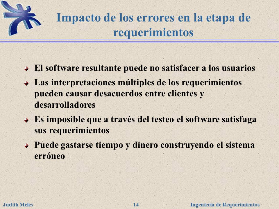Ingeniería de Requerimientos Judith Meles 14 Impacto de los errores en la etapa de requerimientos El software resultante puede no satisfacer a los usu