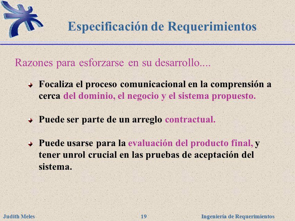 Ingeniería de Requerimientos Judith Meles 19 Especificación de Requerimientos Focaliza el proceso comunicacional en la comprensión a cerca del dominio