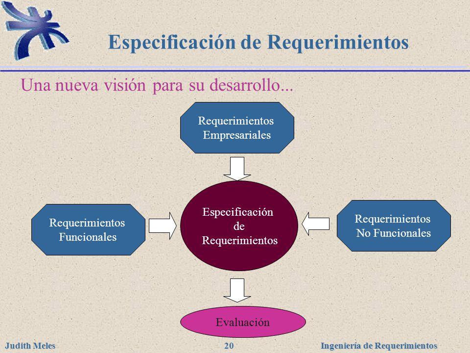 Ingeniería de Requerimientos Judith Meles 20 Especificación de Requerimientos Una nueva visión para su desarrollo... Especificación de Requerimientos