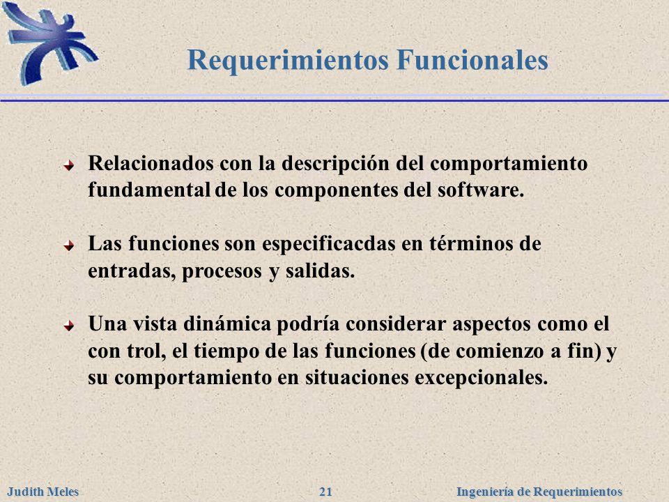 Ingeniería de Requerimientos Judith Meles 21 Requerimientos Funcionales Relacionados con la descripción del comportamiento fundamental de los componen