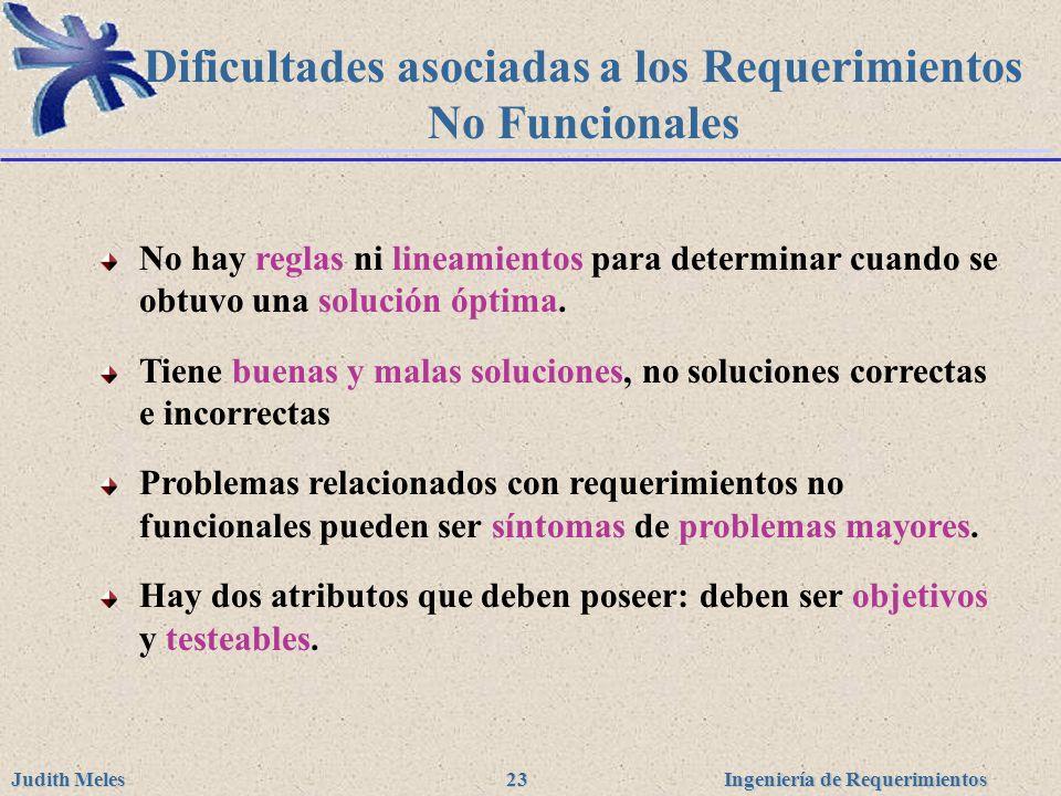 Ingeniería de Requerimientos Judith Meles 23 Dificultades asociadas a los Requerimientos No Funcionales No hay reglas ni lineamientos para determinar