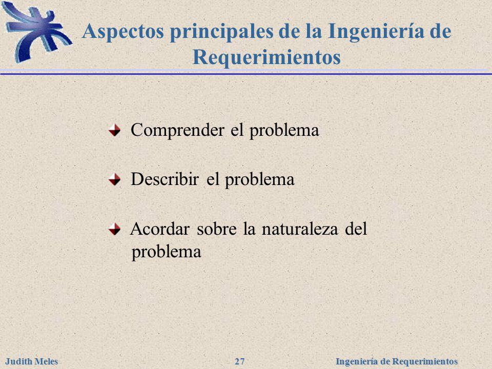 Ingeniería de Requerimientos Judith Meles 27 Aspectos principales de la Ingeniería de Requerimientos Comprender el problema Describir el problema Acor