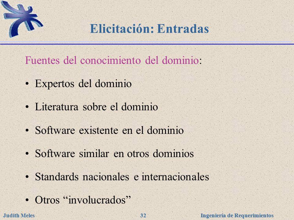 Ingeniería de Requerimientos Judith Meles 32 Elicitación: Entradas Fuentes del conocimiento del dominio: Expertos del dominio Literatura sobre el domi