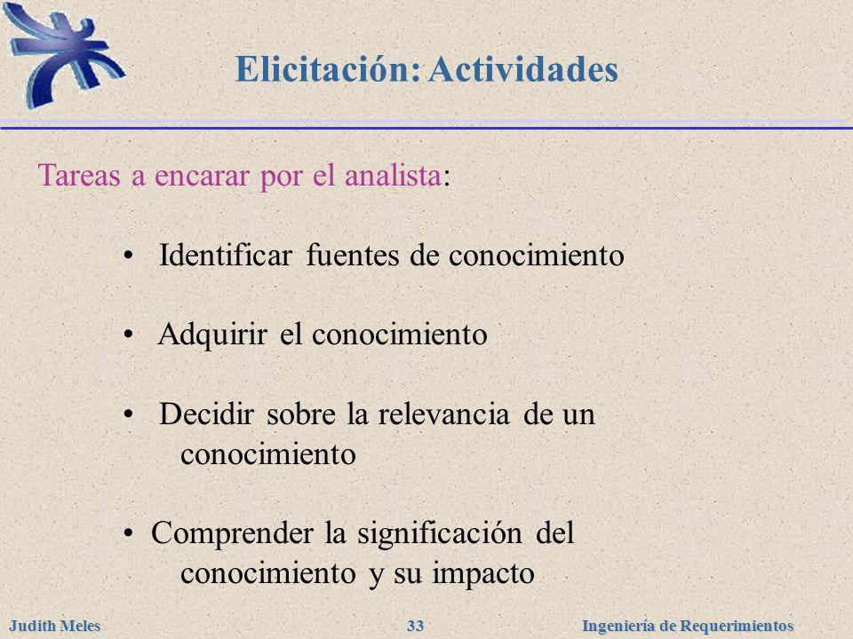 Ingeniería de Requerimientos Judith Meles 33 Elicitación: Actividades Tareas a encarar por el analista: Identificar fuentes de conocimiento Adquirir e